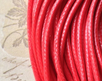2 mm Red Color Korean Waxed Cotton Necklace Cord (.gm)