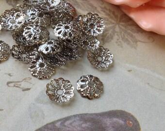 7 x 7 mm  Platinum Plated Filigree Bead End Caps (.am)
