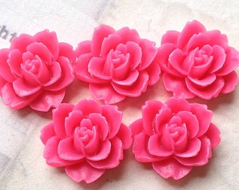 19  x 18 mm Hot Pink Colour Resin Peony Flower Cabochons (.ag)