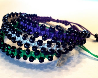 CLEARANCE - Purple, Green, or Tan Hemp Bracelet with Black Beads