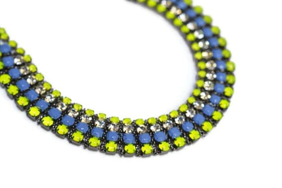 neon necklace rhinestone Acid Green Yellow Blue