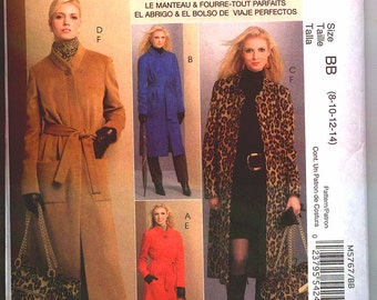 Brand New  McCALLS PALMER PLETSCH Pattern m5767 Sz 8-14 or 16-24 The Perfect Misses'  Lined Coat and Travel Tote Uncut Factory Folded