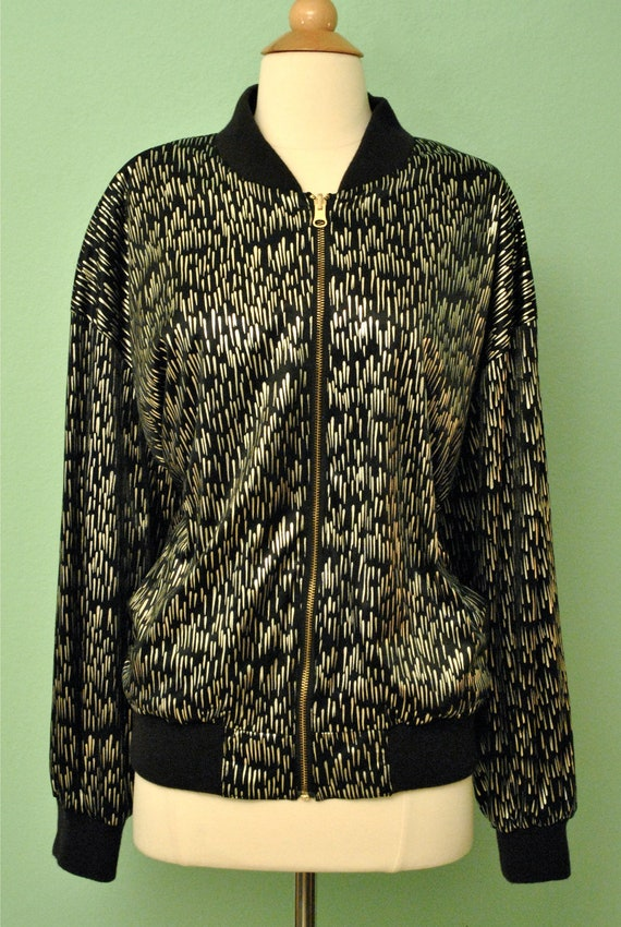 Vintage Souvenir Jacket - Japanese Style Zip Up Wind Breaker - Flashy Old Lady Jacket in Black and Metallic Silver