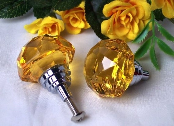 Amber Crystal Glass Dresser Drawer Pull Door Pull Knob Cabinet