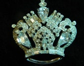 Coro Sterling Rhinestone Crown Brooch