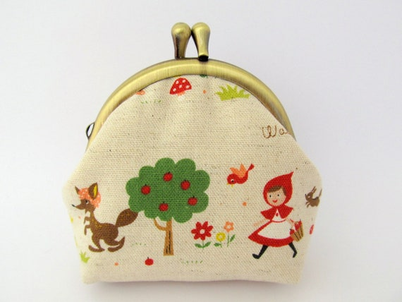 Coin purse Neutral Red Riding Hood Woodland Fairy tale Japanese natural linen Frame purse