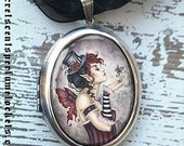 Perfume Art Locket Pendant  - Fae Risque by Amy Brown