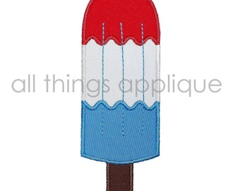 Red, White, Blue Popsicle Machine Embroidery Applique Design - 4th July Applique - INSTANT DOWNLOAD