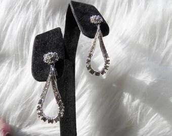 Signed Panetta Rhinestone, Faux Diamond Clip Dangle Earrings, Bride, Wedding
