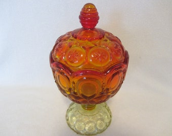 Vintage Moon and Stars Amberina Glass Covered Candy Bowl