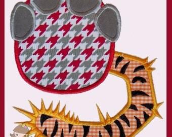 Elephant footprint smashing a tiger Applique design