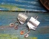 Parodium - Aluminum, Sterling Silver and Hand Painted Copper Earrings