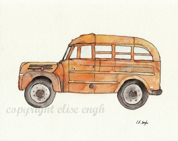 Original Watercolor Vintage Bus Painting Illustration, Orange, Yellow, Rust, Brown, 8 x 10