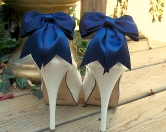 Navy Blue Wedding Shoe Clips, Bridal Shoe Clips, Satin Shoe Clips, Clips for Wedding SHoes, Bridal Shoes, MANY COLORS AVAILABLE, Shoe Clips