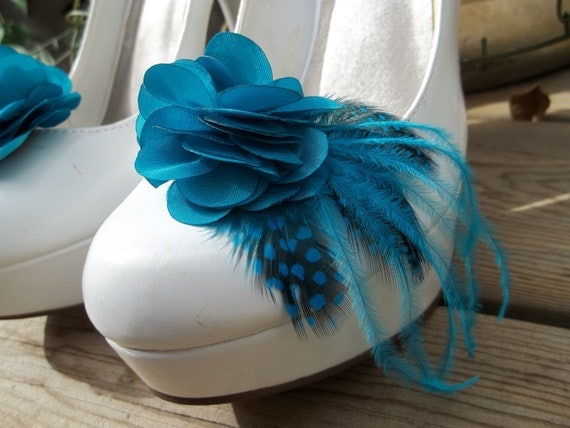 Bridal Shoe Clips - Teal satin flower shoe clips, Feathered Shoe Clips, Wedding Shoe Clips