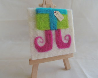 Needle-felted 'Presently Elfed' on Mini-Canvas with easel