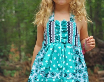 Girls Sewing Pattern Dress - pdf pattern - Apron Dress, INSTANT DOWNLOAD, Kids Dress Pattern, 12 months to 10 years of age