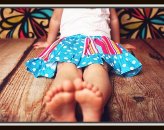 Sewing Pattern Skirt for Girls, Pdf Sewing Pattern, Ages 2-10 Years, Panelled Skirt with Head Band