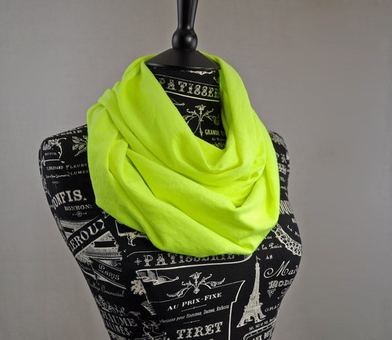 CLEARANCE Infinity Scarf Neon Yellow Bright Circle Loop Cowl