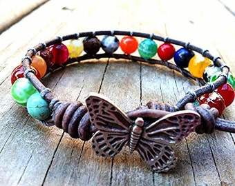 Butterfly Beaded Leather Wrap Bracelet, Multicolor Gemstones, Colorful Leather Bracelet 1x