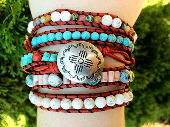 Southwestern Turquoise Leather Wrap Bracelet with Multi Gemstones, Native American inspired, Western jewelry, Santa Fe jewelry 5X