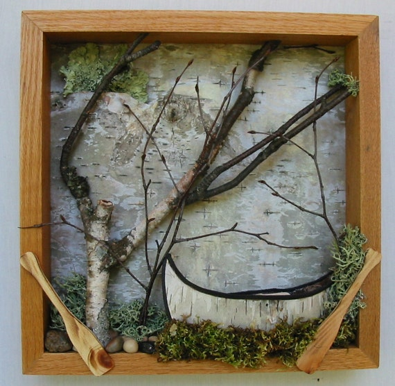 Framed Canoe, Woodland Scene - Free Shipping, Birch Bark Canoe, Urban Forest, Shadow Box, Urban Rustic