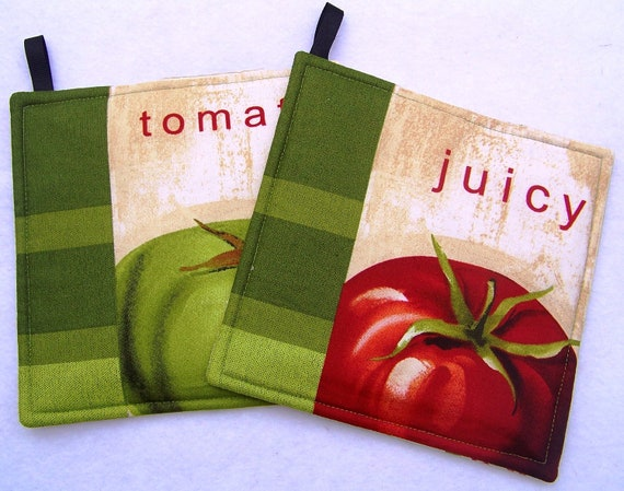 Pot Holders, Set of Two, featuring Fresh Tomatoes