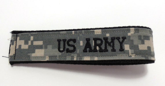 Personalized Army ACU Embroidered Custom Key Fob, Army Embroidered Wristlet Key Chain or Luggage Tag,  Military Key Fob