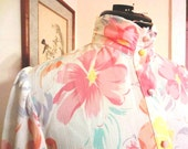 Vintage 1980s Pastel Floral Romantic Blouse sz M 8 10