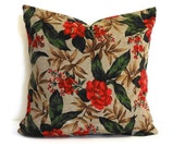 SALE -  Holiday Decor Pillow Cover, Christmas Pillow, Red, Green, Brown, 16 x 16