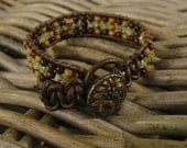 "Energy bracelet, ""Rain Forest"", Peridote stone bracelet, wooden beads, leather, MADE-TO-ORDER"
