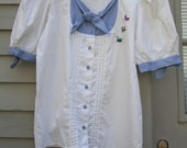 Vintage Gingham check and white blouse with bows and pleats ala 1980s