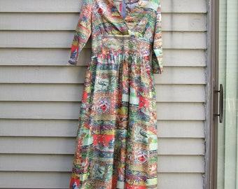 Vintage Asian Figural Maxi dress ala 1970s