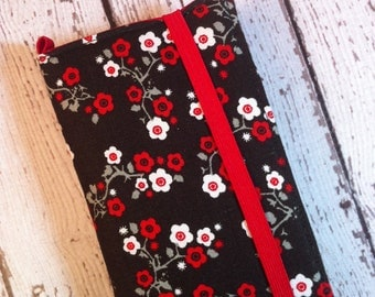 Red and black cherry blossoms iPhone 3, 4, 4S, 5, iPod Touch 4G, 5 wallet with removable gel case