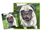 custom dog painting pet portrait original oil painting puppy art pug dog 18x18 made to order by Heather Hughes