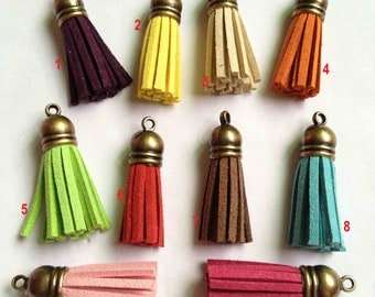 10pcs of Mix Colors Leather Tassel with Antique Bronze Caps Bag Charms 39x10mm