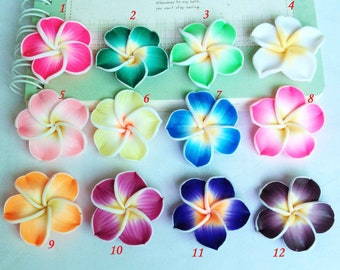 15pcs Mixed Color 33mm Beautiful Clay Rose Flower Charm Jewelry Findings H502