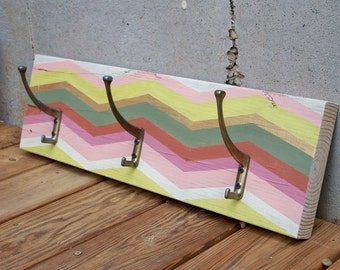 Reclaimed Wood Chevron Coat Rack with Brass Hooks