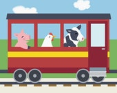Train Nursery Art - Barnyard Animal Kids Wall Art - Pig, Chicken, Cow