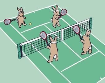 Tennis Kids Wall Art - Bunny Rabbit Baby Nursery Decor - Sports Bedroom Art