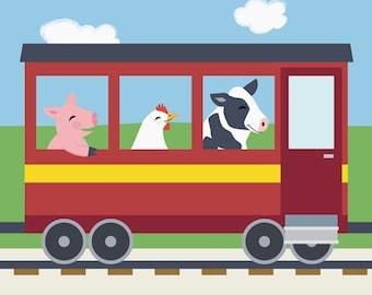 Train Nursery Art - Barnyard Animal Kids Wall Art - Pig, Chicken, Cow