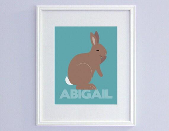 Personalized Bunny Nursery Decor - Kids Name Art