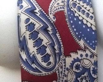 Vintage Silk Paisley Necktie Tie Blue Maroon Mans Men Van Heusen Mid Century Mad Men Wide Groovy