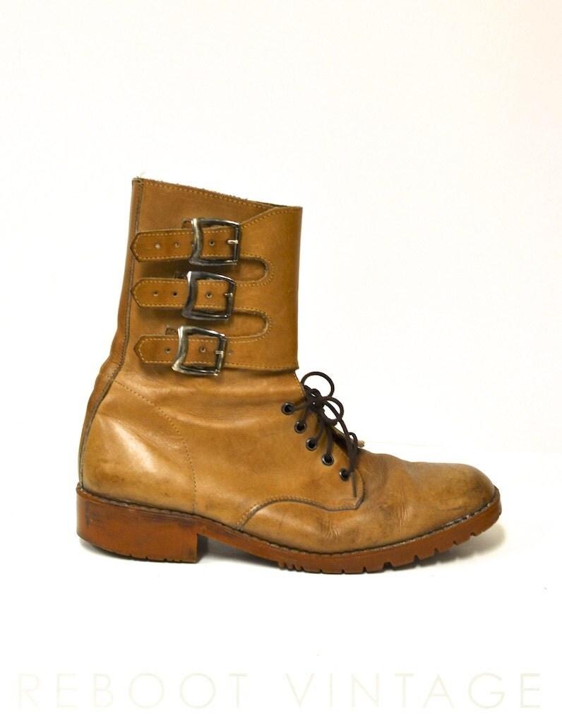 vintage mens leather tanker boots 42 8 5 9