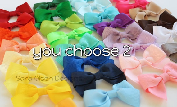 Petite Classic Hairbows, You Choose 2, Simple Bows, 2.5 Inch Hairbows, Hair Clips, Custom Color, Back to School, Small Hair Clips