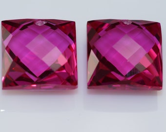 Clearance pink topaz one pair drilled 14x14mm