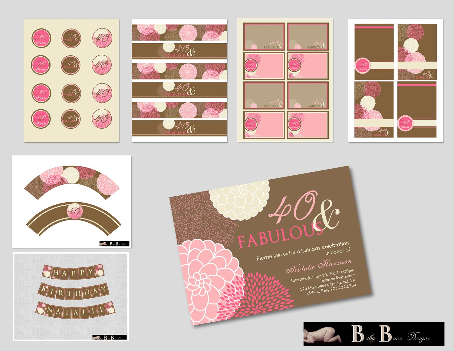 40 and fabulous 40th birthday invitation pink brown for 40th birthday decoration