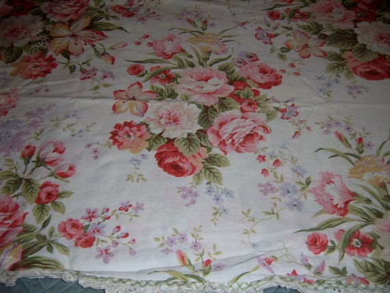Floral Fabric, Roses, Repurposed  Pillow Sham , shabby Chic, Sewing Supplies, Pillow Supplies