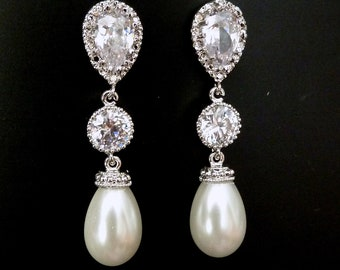 Bridal Earring - White Teardrop Pearl, Round CZ Drop with White Gold Plated Peardrop Cubic Zirconia Post Earring