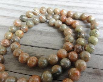 Autumn Jasper Beads - 6mm Round Smooth - 16 inch Full Strand